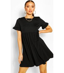 gesmokte crêpe jurk met mouw franjes, zwart