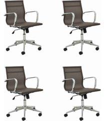conjunto 04 office sevilha baixa tela cafã© marrom - marrom - dafiti