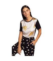t-shirt maria valentina decote redondo abertura lateral preto