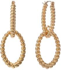 chiristian siriano new york gold tone twisted double loop drop earrings