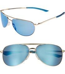 women's smith serpico slim 2.0 60mm chromapop polarized aviator sunglasses - gold/ blue polar