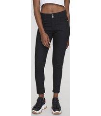 jeans high waist push up 2 botones negro  corona