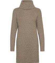 katerina knits roll neck dress knälång klänning beige french connection