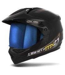 capacete moto trilha pro tork mx pro vision viseira iridium