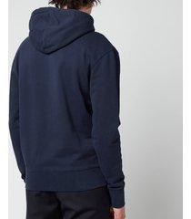 maison kitsuné men's grey fox head patch classic hoodie - navy - xxl