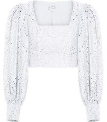 blusa feminina top cropped laise - off white
