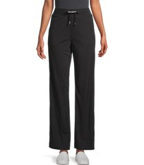 karl lagerfeld paris women's side-button drawstring pants - black - size xs