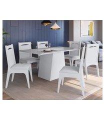 conjunto mesa com base e cadeiras mdf branco lilies móveis