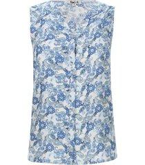 blusa con alforzas estampado azul color azul, talla 10