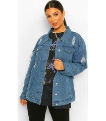 distressed oversized jean jacket, blue