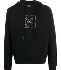 black and white workers logo hoodie