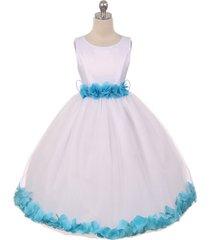 white dress turquoise ribbon sash floral tulle petals birthday flower girl dress