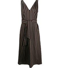 brunello cucinelli striped belted day dress - brown