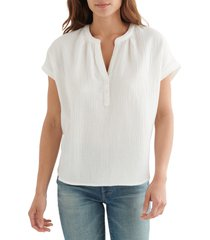 women's lucky brand crinkle cotton top, size xx-large - ivory