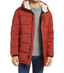men's vince camuto water resistant quilted stretch parka, size medium - orange