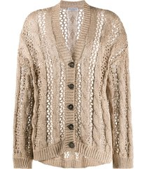 brunello cucinelli slouchy open knit cardigan - brown