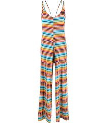 c'est la v.it striped relaxed-fit jumpsuit - blue