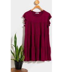 lucy babydoll mini dress - burgundy
