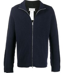 maison margiela ribbed zip-up cardigan - black