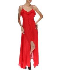 vestido largo mujer almeria rojo rockford