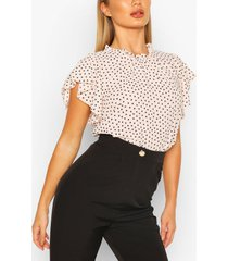 polka dot frill sleeve woven blouse, blush