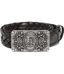 etro logo-buckle braided belt - brown