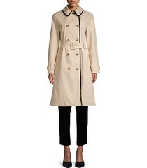 pleather trim trench coat