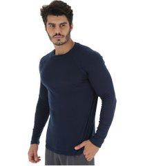 camisa segunda pele manga longa nord outdoor under basic - masculina - azul escuro
