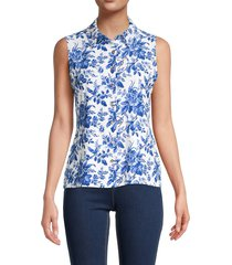 tommy hilfiger women's floral sleeveless shirt - french blue - size s