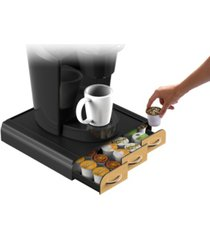 mind reader 36 capacity 'anchor' triple drawer k-cup, dolce gusto, cbtl, verismo, single serve coffee pod holder drawer with brown wood veneer