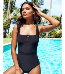 icon positano non-wired square neck mesh insert shaping one-piece swimsuit