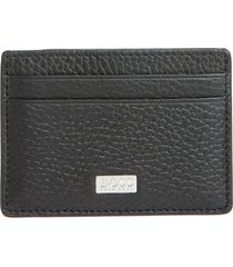 men's boss crosstown leather rfid money clip card case -