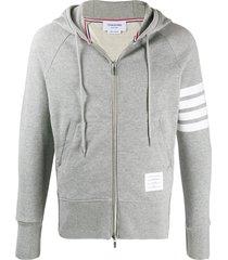 4-bar zipped hoodie light grey