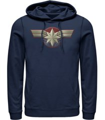 marvel men's captain marvel chest logo costume, pullover hoodie