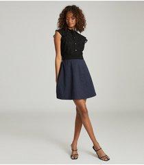 reiss hazel - ruffle detailed mini dress in navy/black, womens, size 14