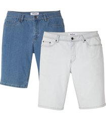 jeansbermudas i stretch med återvunnen polyester, normal passform, 2-pack