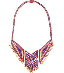 jessie western beaded boho necklace - red