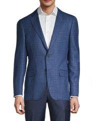 hickey freeman men's milburn ii regular-fit check wool & silk jacket - blue - size 44 r