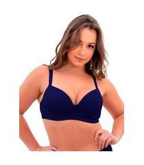 1 sutiã plus size reforçado cor lisa soutien bojão lingerie azul marinho