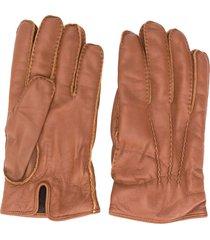 ermenegildo zegna cashmere-lined leather gloves - brown
