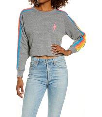 women's aviator nation bolt crop sweatshirt, size x-small - grey