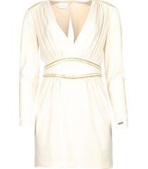 jurk met gouden kraaltjes adeline  naturel