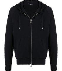 balmain textured logo zipped hoodie - black