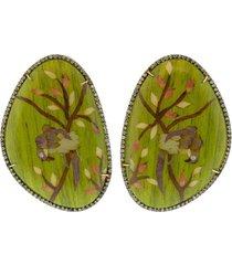 green bird marquetry earrings