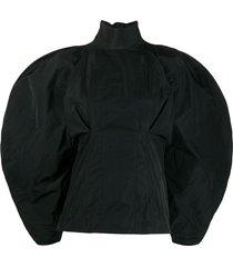 givenchy taffeta oversized sleeve blouse - black