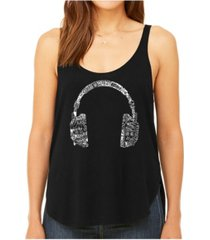 la pop art women's premium word art flowy tank top- headphones - languages