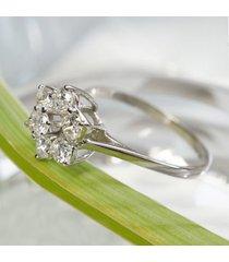 0.14 ct diamond 925 silver  14k white gold fn engagement flower cluster ring