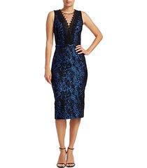 lace trim brocade sheath dress