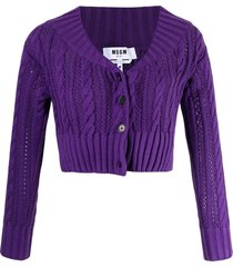 msgm cable-knit cotton cardigan - purple