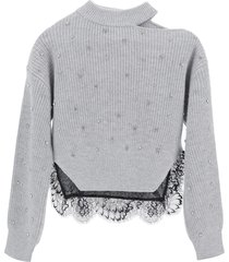 self-portrait sweater with crystals